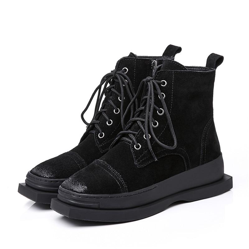 Chaussures Cuir Carré Bout Masgulahe Femmes Classique Suédé Plat Dames Automne En Cheville 2018 Hiver Avec Noir Bottes Mode Pour qzA1T