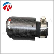 1pcs ID 60mm OD 89mm Car Accessories Akrapovic Matt Black Carbon Fiber Exhaust Tip/Muffler Pipe For Car