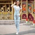 Korean style plus size woman denim pants overalls fashion sexy pure cotton button pockets light blue zippers women jeans D110
