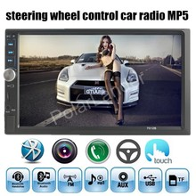 NUEVO menú 4 idiomas 7 pulgadas Bluetooth Car Audio Estéreo MP5 MP4 jugador 2 din Vídeo audio AUX FM USB TF con Mando a distancia