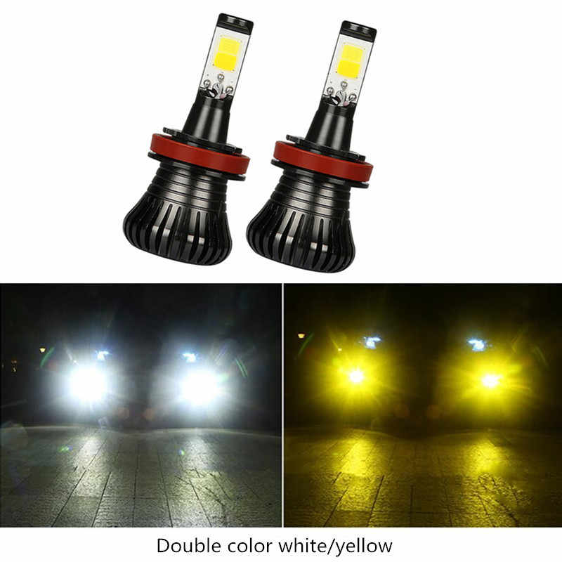 2X Car Bulb Light Lamps LED 80W H8 H9 H11 9005 HB3 9006 HB4 H27 880 881 Fog Driving White Blue Golden Dual Color 12V