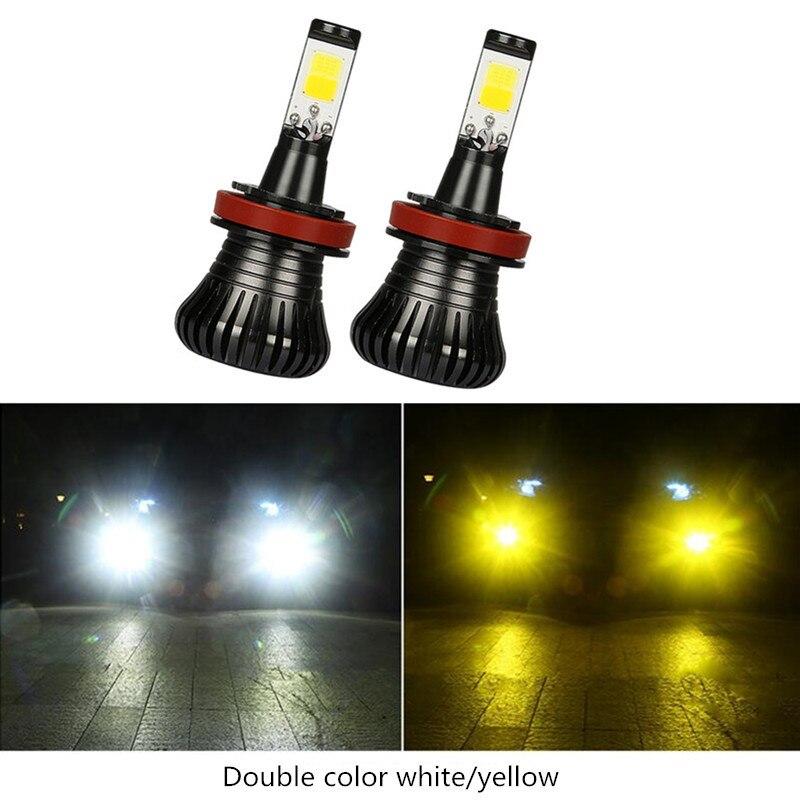 2X Car DRL Bulb Light Lamps LED 80W H8 H9 H11 9005 HB3 9006 HB4 H27 880 881 Fog Driving White Blue Golden Dual Color 12V 1 pair 12v car led lights h8 h11 fog light driving drl bulb light lamps
