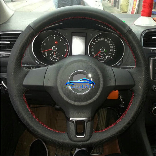 golf mk6 manual sew black leather car steering wheel covers caps fit rh aliexpress com manual golf score counter manual golf gti japan