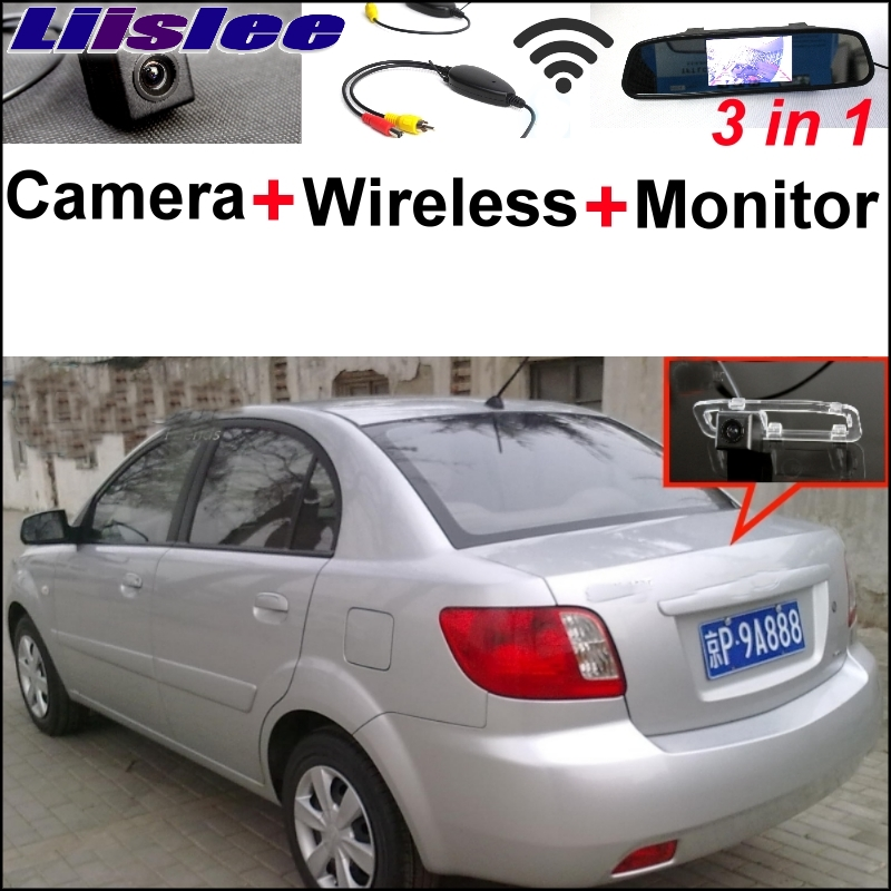 Liislee Special Rear View Camera Wireless Receiver + Mirror Monitor Easy  Back Parking System For KIA Rio Rio5 JB 2011~2017 for ford escape maverick mariner car parking sensors rear view back up camera 2 in 1 visual alarm parking system