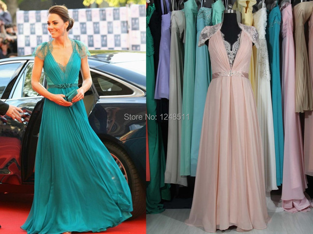 2014 Sexy V Neck Cap Sleeves Kate Middleton Jenny Packham Green Lace ...