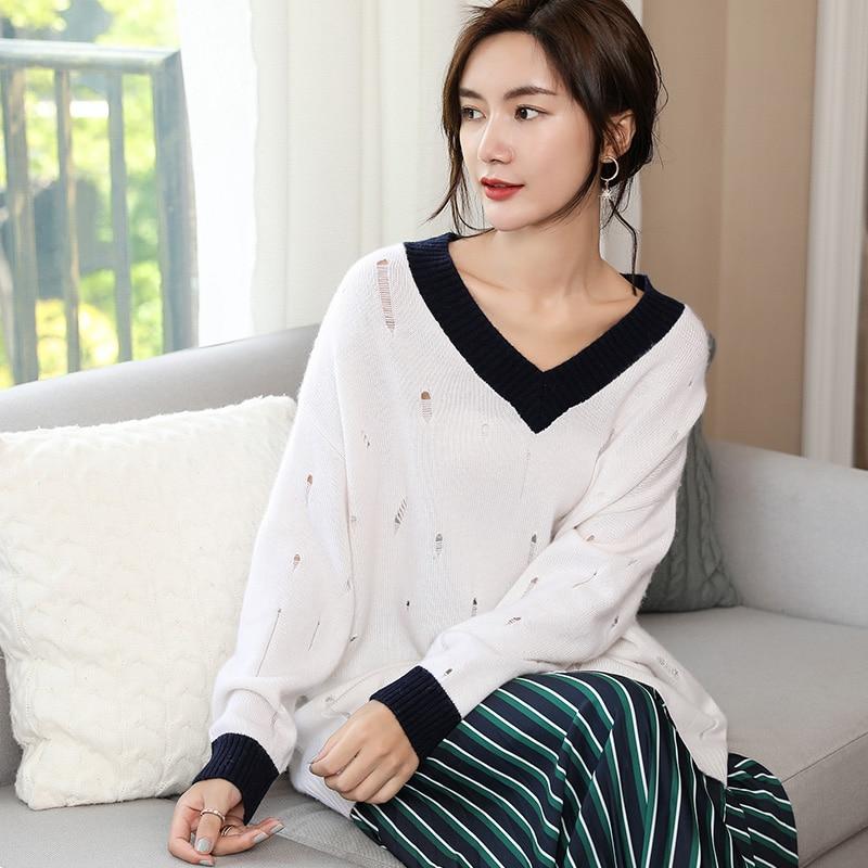 hongtuo Hauts Noir Femme Cachemire 2018 Chandails 100 Vêtements Hiver V Standards Col Surdimensionné Tricoté Et Pulls blanc Nouvelle qSqOxa