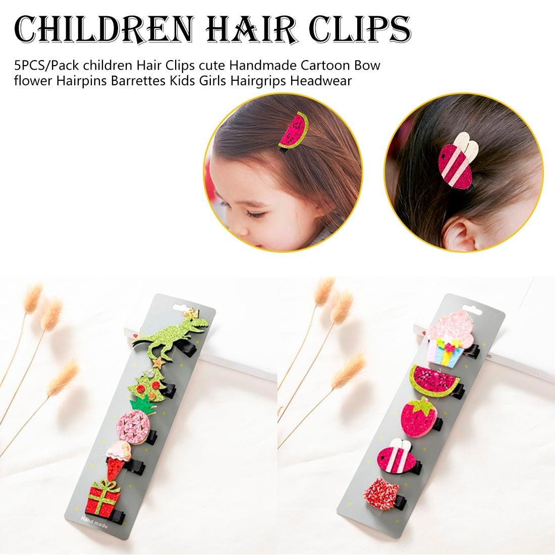 5PCS/Pack children Hair Clips cute Handmade Cartoon Bow flower Hairpins Barrettes Kids Girls Hairgrips Head wear