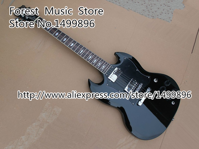 Chinese Musical Instrument Classical Black Angus Young Signature Electric Guitar Kits Lefty Custom Available brand new angus young sunburst sg electric guitar brown custom free shipping chrome hardwares