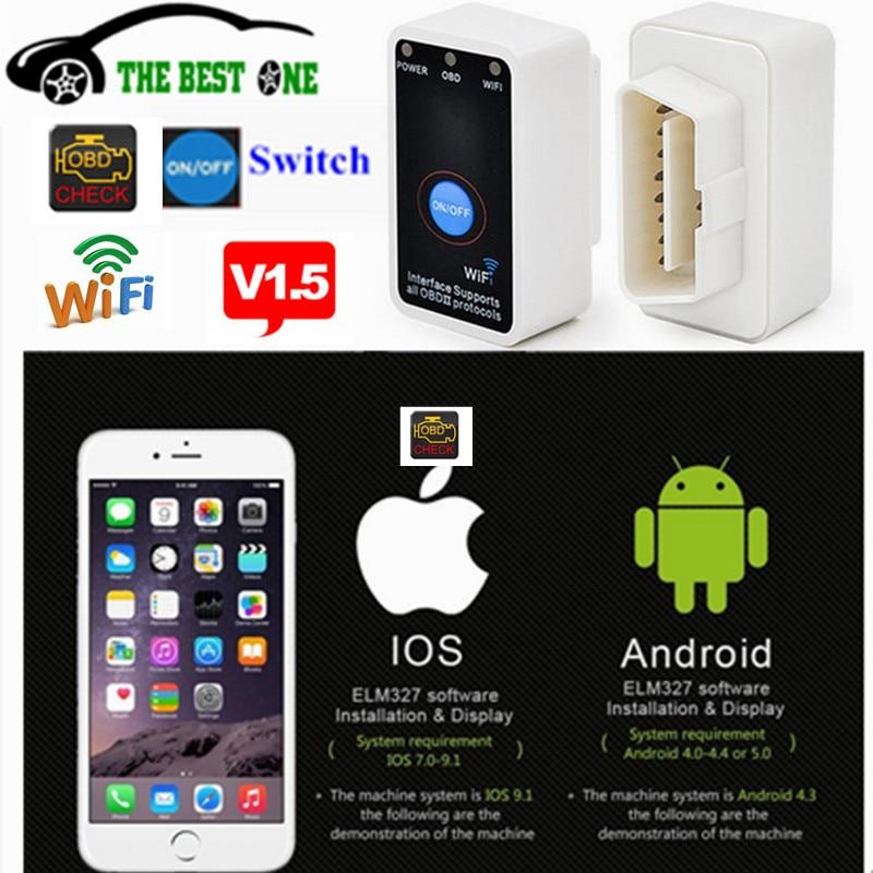 Prix pour Meilleur FW V1.5 Super MINI ELM327 WIFI ON/OFF Interrupteur D'alimentation ELM 327 WI-FI Pour IOS Android CAN-BUS OBD2/OBDII Voiture De Diagnostic outil