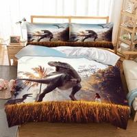 Jurassic World Dinosaur Bedding Set 3D Print Beauty Duvet Cover Set with Pillowcase Microfiber Bed Linne Set 3 Piece Bedclothes