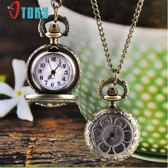 OTOKY Fashion Flower Hollow out Vintage Retro Bronze Pocket Watch with Pendant C