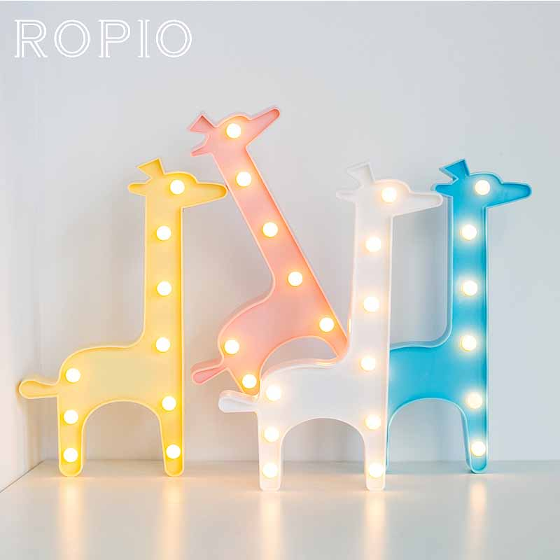 ROPIO 3D Night Light Box LED Table Lamp Marquee Giraffe Battery Operated For Children's Room Wedding Party Birthday Decoration ropio 3d night light box led table lamp marquee giraffe battery operated for children s room wedding party birthday decoration