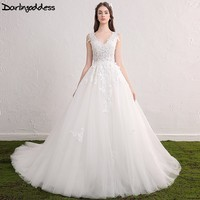 Darlingoddess Robe De Mariee Vintage Wedding Dresses 2017 V Neck Lace Appliques Country Western Wedding Dresses Vestido De Novia