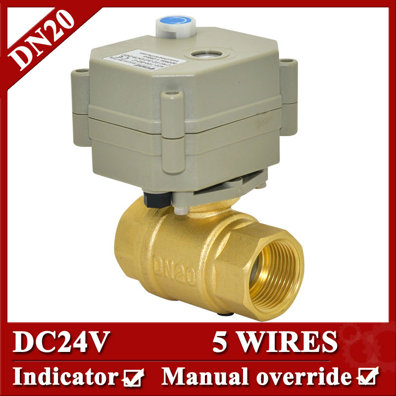 3/4''  24VDC  brass electric actuator valve 5 wires  electric ball valve BSP/NPT  with manual override and indicator mini brass ball valve panel mountable 450psi with lever handle chrome plated malexfemale npt
