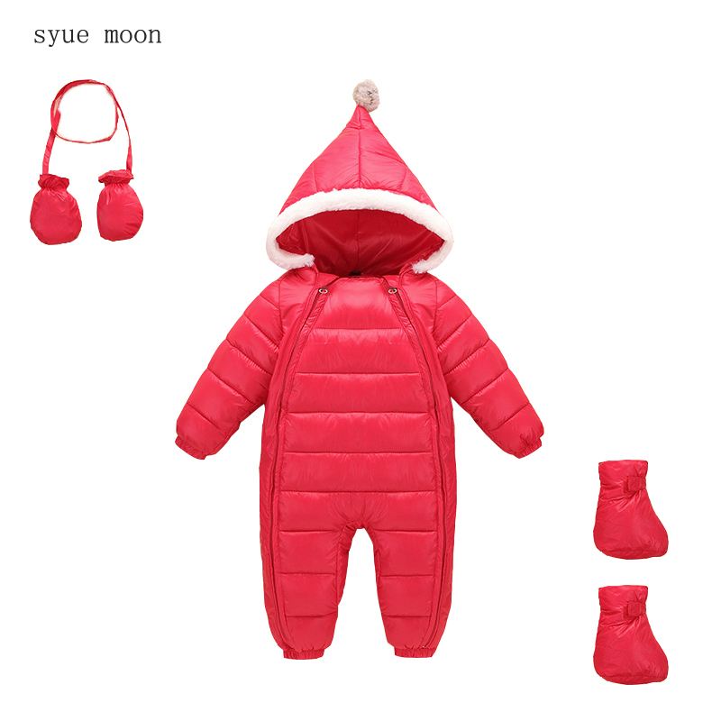 2017 Hot winter baby boys girls snowsuit baby Rompers down coat clothes Warm Thickening wear winter  Long Sleeve outwear 2017 baby boys girls long sleeve winter rompers thicken warm baby winter clothes roupa infantil boys girls outfits cc456 cgr1