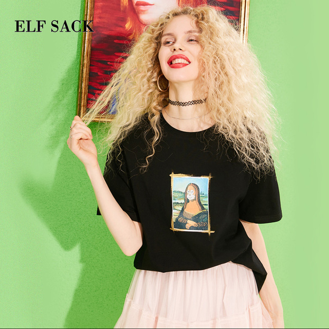ELF SACK 2019 Spring New Woman T-shirt Cotton Casual O-Neck Women Tops Character Print Femme T-shirts Stylish Ladies Tees