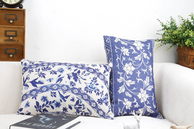 Blue And White China Flower Home Decor Pillow Cushion /Decorative Linen  Cotton Sofa Cushions /