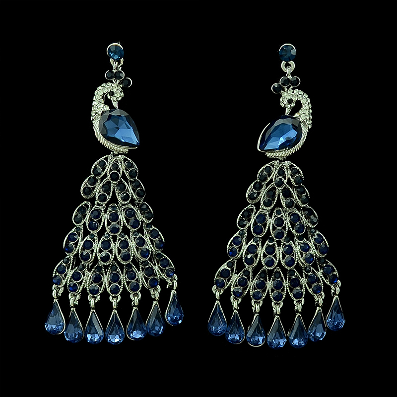 New luxury brand font b silver b font plated crystal peacock feathers dangle font b earrings