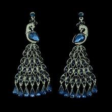New luxury brand silver plated crystal peacock feathers dangle earrings big teardrop tassel earrings jewelry