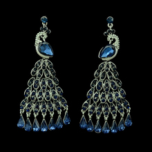 New luxury brand silver plated crystal peacock feathers dangle earrings big teardrop tassel earrings jewelry