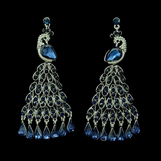 Silver Plated Crystal Peacock Earrings