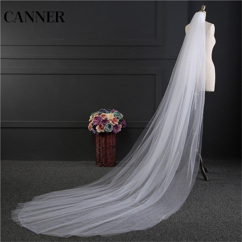 Canner Women Cheap 3M White Lvory Wedding Veil Head Veil 2 Layer Bridal Veils Accessories Hot Sale