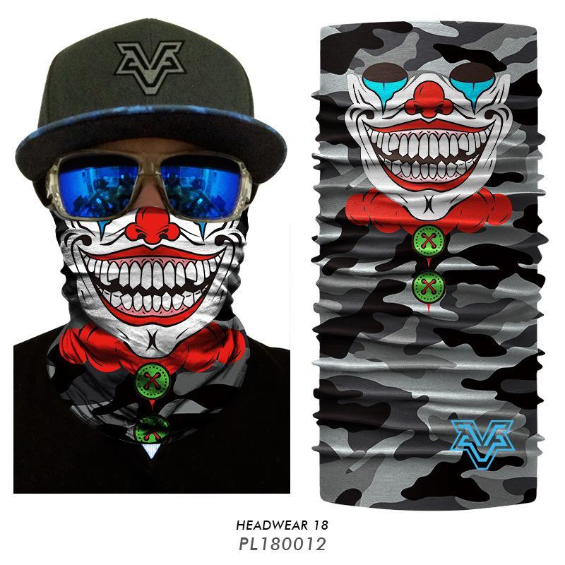3D Seamless Balaclava Magic Cycling Ski Scarf Neck Warmer Face Mask Skull Clown Joker Bandana Bicycle Hunting Headband Headwears