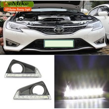eeMrke High Power LED DRL For Toyota MarK X Reiz 2013 2014 White DRL Fog Cover Daytime Running Lights Kits