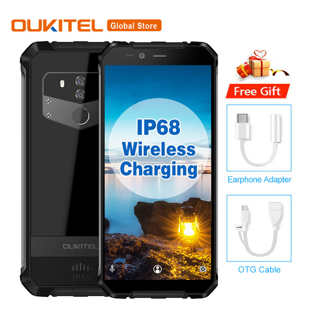 OUKITEL WP1 IP68 Waterproof Android 8.1 5.5''+ 18:9 Octa Core 4GB 64GB MTK6763 5000mAh Wireless Charging Tri-proof Mobile Phone