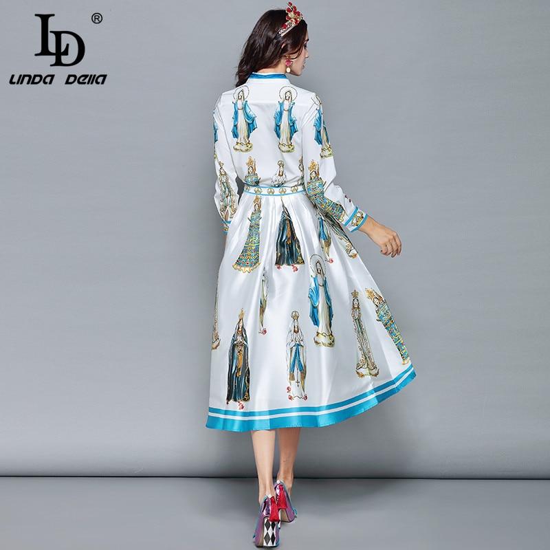 LD LINDA DELLA wiosna mody projektant spódnica dwa kawałki ustawić kobiet z długim rękawem z nadrukiem bluzki + spodnie na co dzień spódnice zestaw garnitur w Zestawy damskie od Odzież damska na  Grupa 3