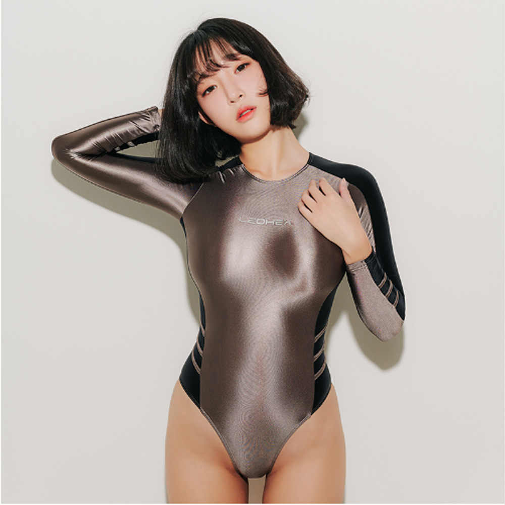 shehang Women's slim tight swimsuit Long sleeve design Fashion sexy beach spa swimsuit One-piece outdoor sexy satin tights