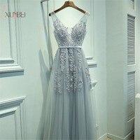 Elegant Tulle Sleeveless Silver Long Prom Dresses 2019 Applique V Neck Prom Gown vestido de gala