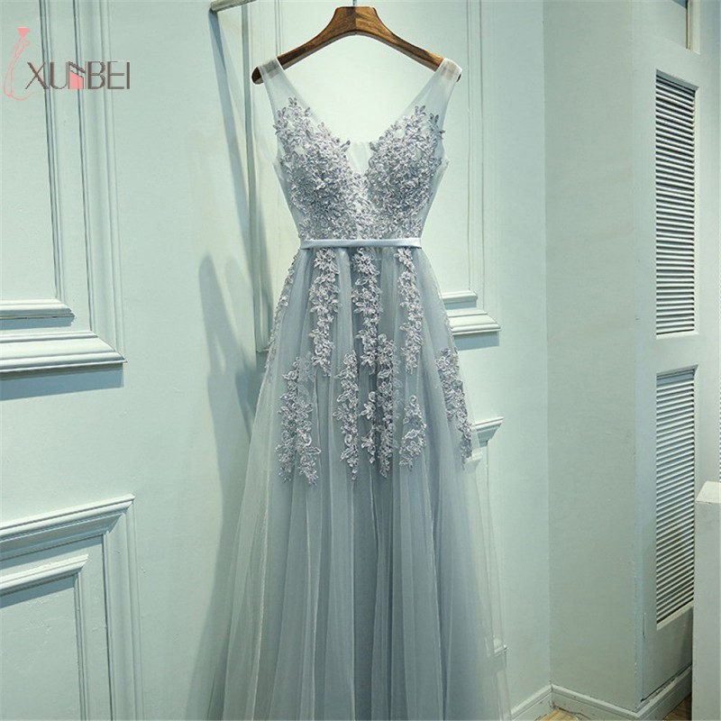 Elegant Tulle Sleeveless Silver Long Prom Dresses 2019 Applique V Neck Prom Gown vestido de gala