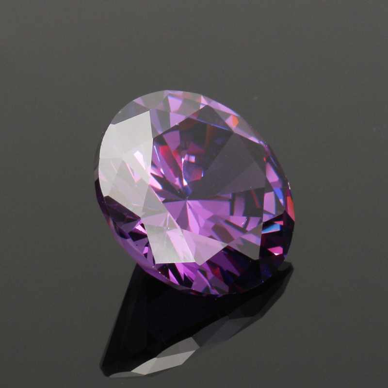 KiWarm Beautiful 19 58CT Purple Cubic Zirconia Gems Round Faceted Cut 15MM  Loose Gemstones for Jewelry Ring Necklaces DIY Making