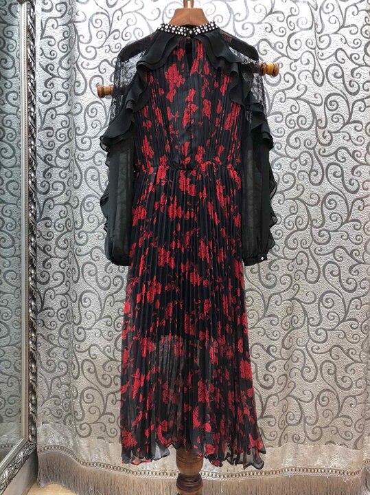 20181219 El Plisado Vestido Clavo Perspectiva Negro Con Decoración Primavera Cuello Pesado De Taladro Hilo Manga Malla En Larga qXOwaXY