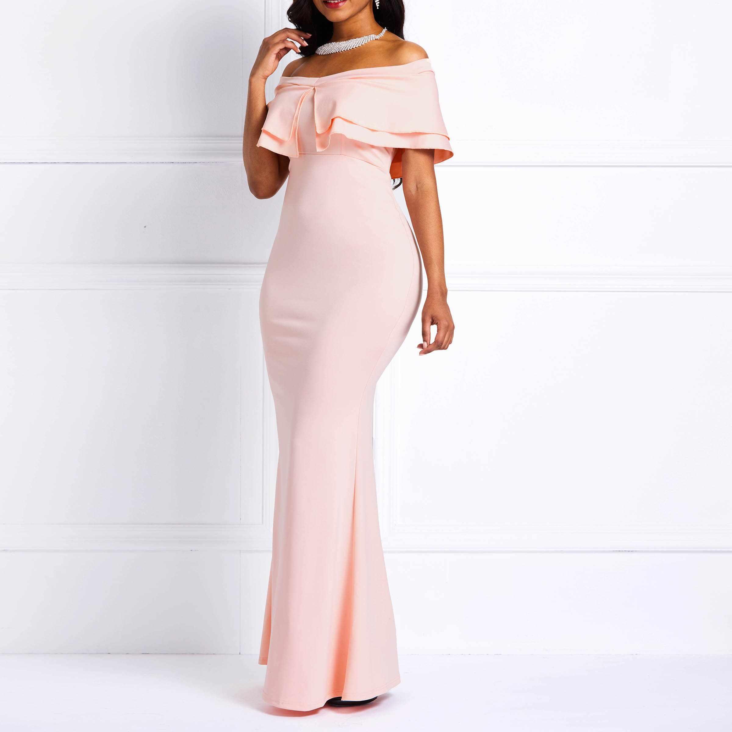 Пикантные с открытыми плечами с юбкой-годе платье Для женщин с оборкой, с высокой посадкой Slash шеи для вечеринки и выпускного бала длиной в Пол, розовое милое женское платье для вечеринки