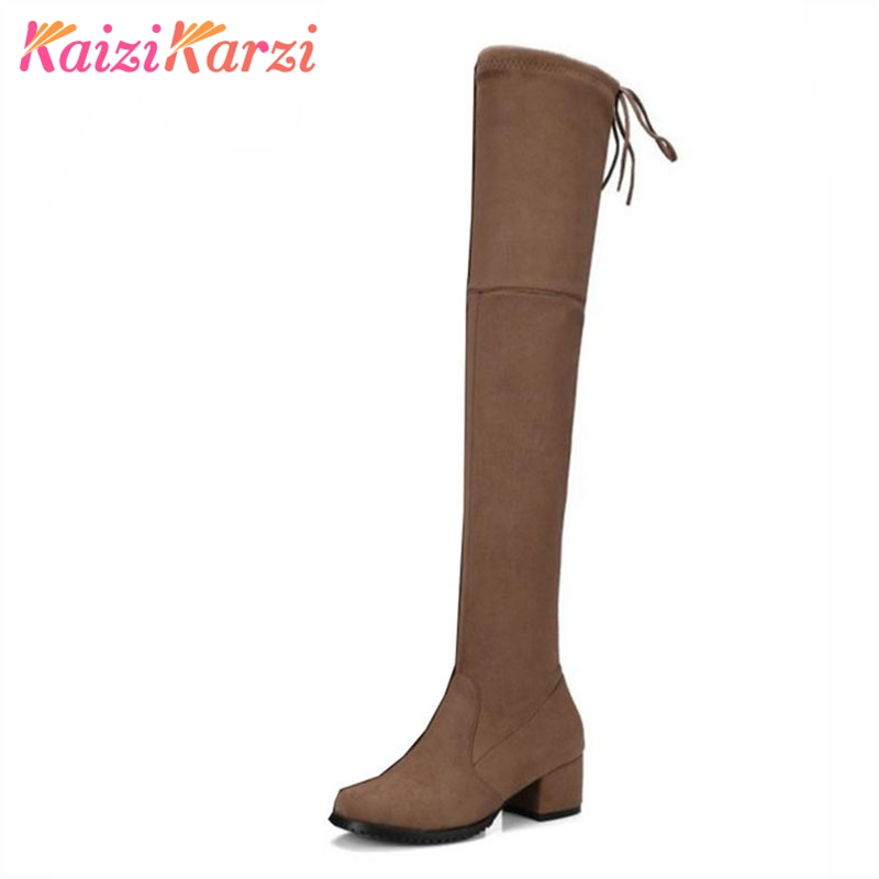 KaiziKarzi  Lace Up Women Real Leather Boots Over Knee Round Toe Square Heel Flock Stretch Boots Women Fashion Shoes Size 34-43
