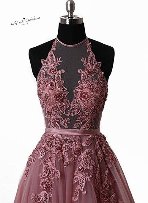 Robes de Gala rose Sexy dos nu robes de bal longue dentelle licou grande taille robes de soirée formelle Occasion spéciale femmes robe - 3