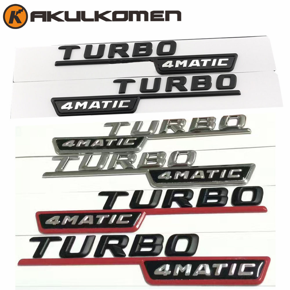 2pcs/lot TURBO 4MATIC For Mercedes Benz AMG ML GLk Emblem Badge Decal Trunk Rear Chrome Letters Black Silver Red colors car styling for mercedes benz g series w460 w461 w463 g230 g300 g350 chrome number letters rear trunk emblem badge sticker
