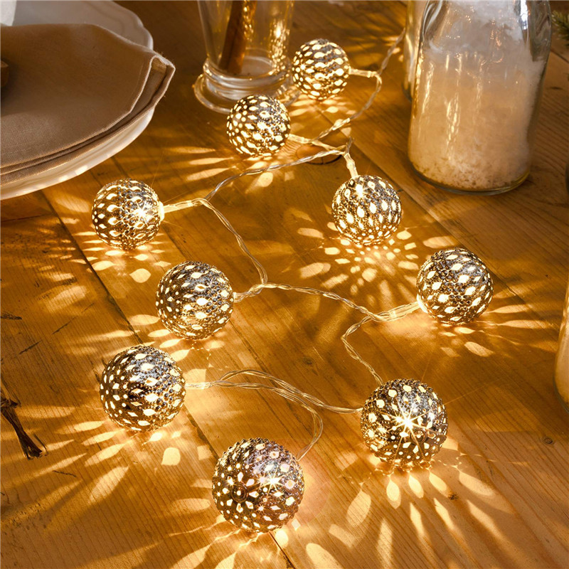 1.5M 10LED Battery AA Iron Ball String Fairy Lights Xmas Wedding Party Home Decoration Lamp Bulb