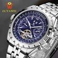 2016 MAIS NOVO OUYAWEI Militar Mecânica Menwatch Top Marca de Luxo Relógios de Pulso Para Homens Do Exército 22mm Couro Esqueleto Reloj Hombre