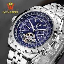 2016 EL MÁS NUEVO OUYAWEI Menwatch de Primeras Marcas de Lujo Mecánico Militar Del Ejército Relojes de Pulsera Para Hombres 22mm Cuero Skeleton Reloj Hombre