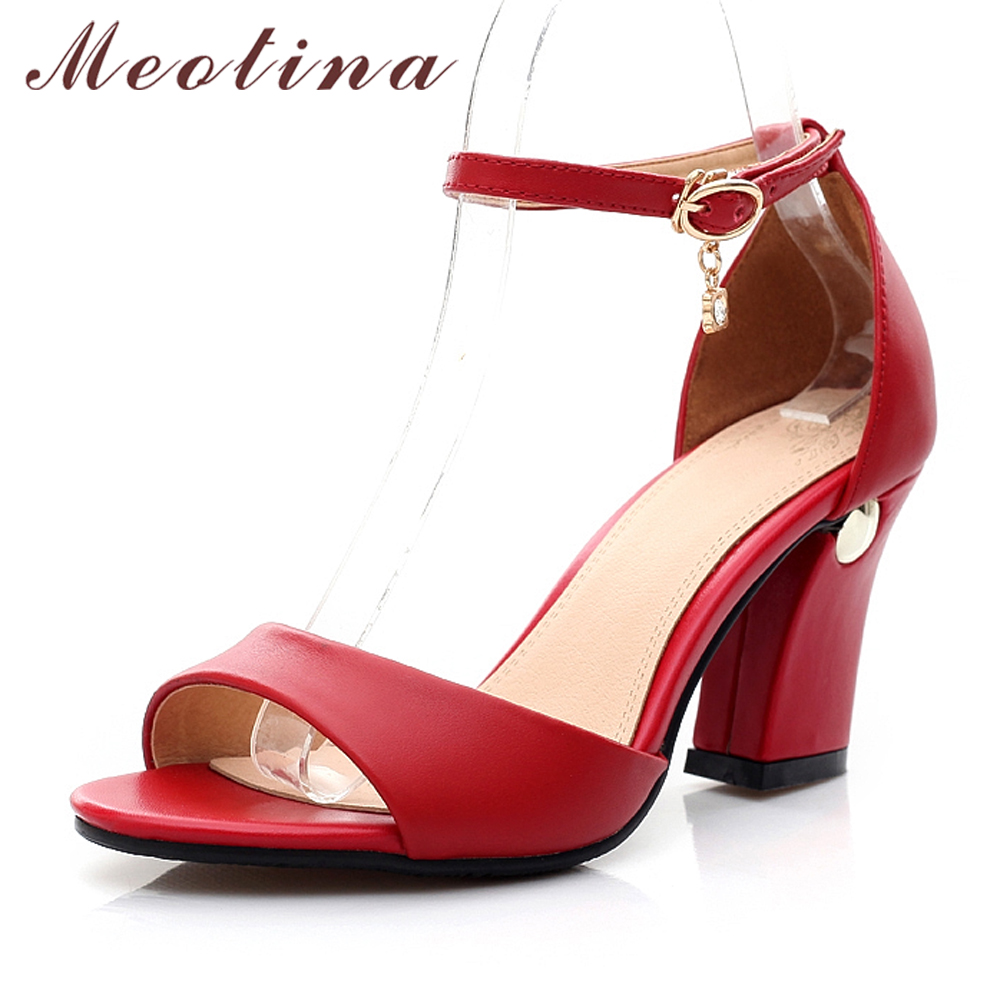 Meotina Summer Genuine Leather High Heel Sandals Shoes Women Ankle Strap High Heels Party Shoes Thick Heel Pumps Red Size 34-43 hot selling lamtop projector lamp ec jc200 001 for pn w10