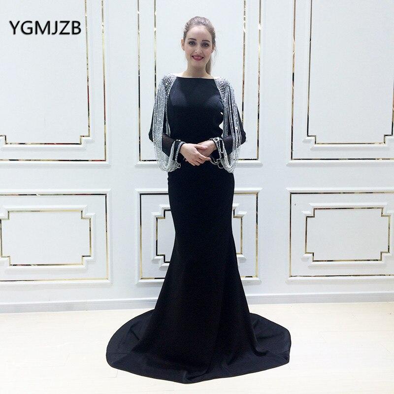 Elegant Mermaid   Prom     Dress   Long Sleeves Beading Chain Floor Length Black Women Arabic Formal Evening Pary Gown