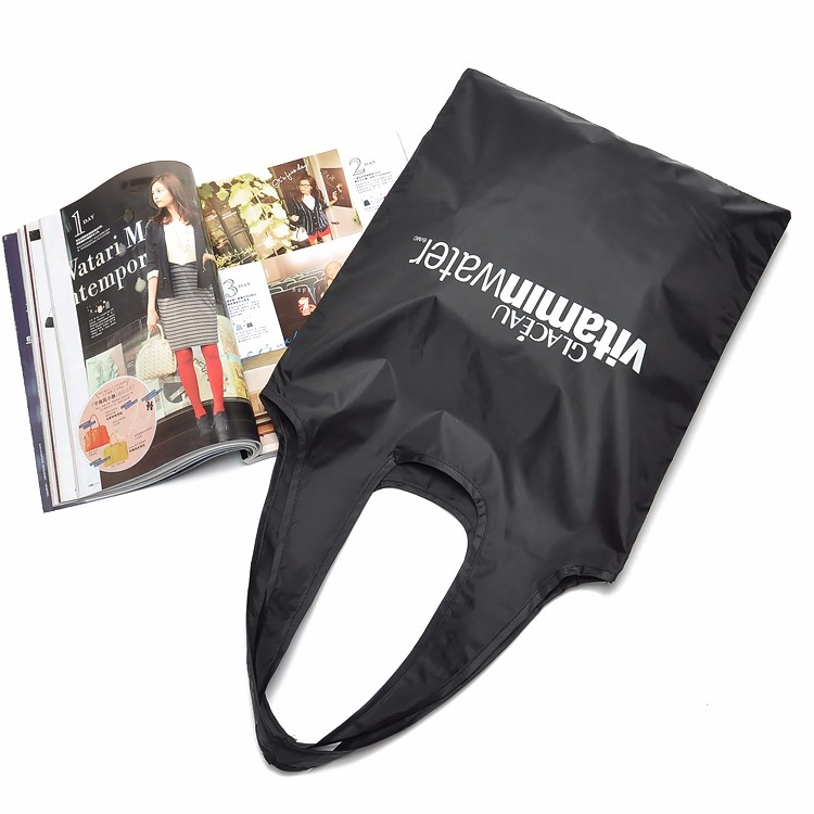 Custom Reusable Bags Nylon Black Grocery Totes Promotional Shopping Bags 16