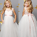 iiniim High Quality White Dresses For Girl Tulle Lace Infant Toddler Pageant Flower Girl Dress for Wedding and Birthday Clothes