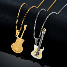 "Uomini Collane Pendenti Gioielli Per Le Donne In Acciaio Inox Musicale Color Oro Punk Rock Guitar Ciondolo Con Catena Box 19 ""22"" 24""(China)"