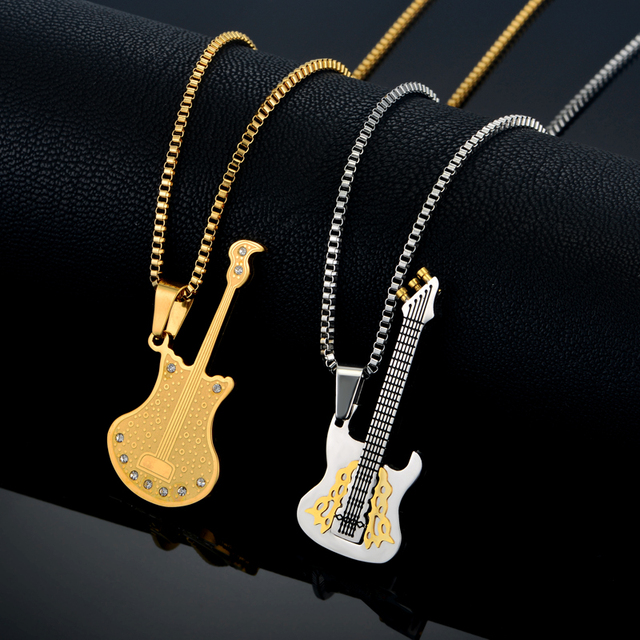 Men necklaces musical pendants jewelry for women stainless steel men necklaces musical pendants jewelry for women stainless steel gold color punk rock guitar pendant with aloadofball Images