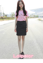 Embroidered short sleeved T-shirt + spotted slimming  two piece, fashionable sexy and slim new style dress Laipelar