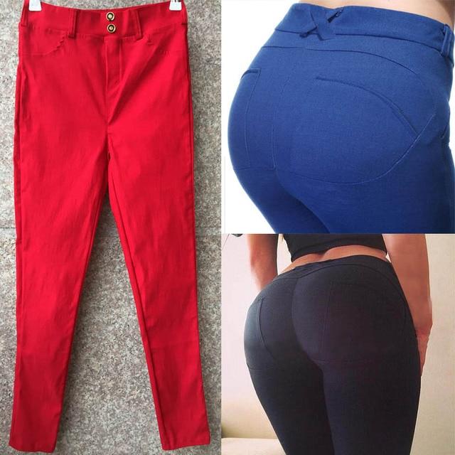 Черный Красный Синий Карандаш Флэш Лифт Брюки Sexy Ladies Леггинсы Карандаш Брюки Тонкие Леггинсы Горячие